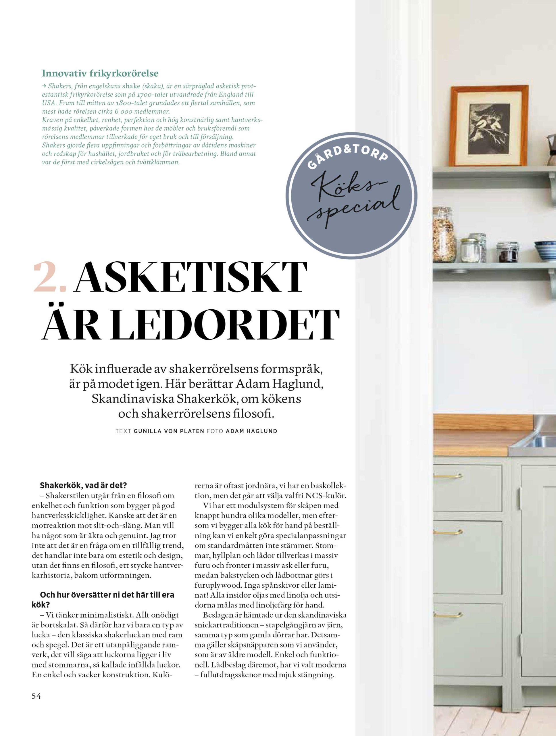 Gård och Torp reportage 1 Skandinaviska Shakerkök